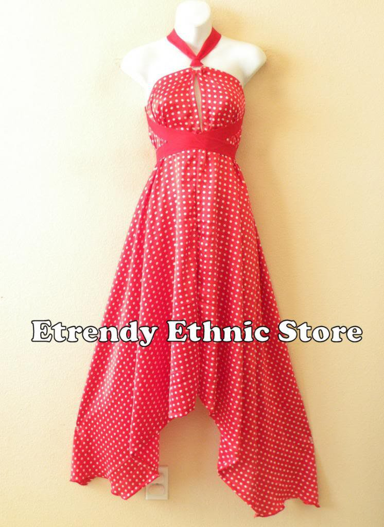 1D88 - Versatile Red Polka Dot  Silk Wear Scarf Long Maxi Halter Dress Maternity