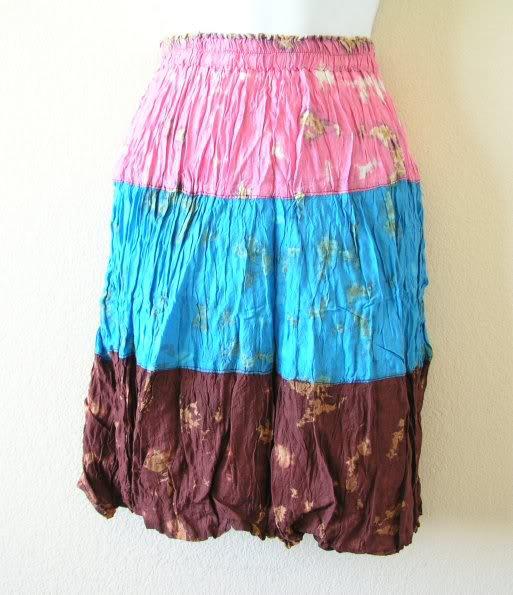 Boho Wrinkled Hippie Gyspy Multi Tie Dye Patchwork 3 Tiered Skirt - XS, S & M
