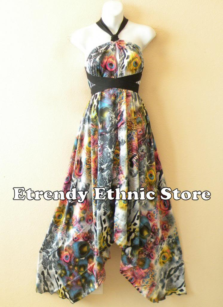 1D89 - Versatile Peacock Silk Multi Wear Scarf Long Maxi Halter Dress, Maternity