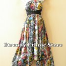 1D89 - Versatile Peacock Silk Multi Wear Scarf Long Maxi Halter Dress, Maternity