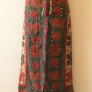 G135 Gothic Gypsy Patchwork Renaissance Heavily Embroidered Maxi Skirt - L