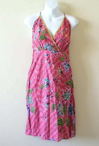 Pink Batik Floral Printed Embroidered Sequins Long Top / Blouse & Dress - XS