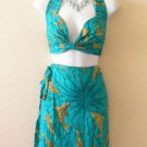 Bohemian Sexy Dophin Halter Bra Top and Cover up Wrap Skirt Set - S & M
