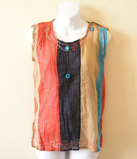 Boho Hippie Gypsy Bohemian Embroidered Patchwork Sexy Blouse Top - XS