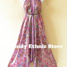 2D69 - Purple Paisley Silk Multi Wear Scarf Long Maxi Dress, Skirt, Maternity