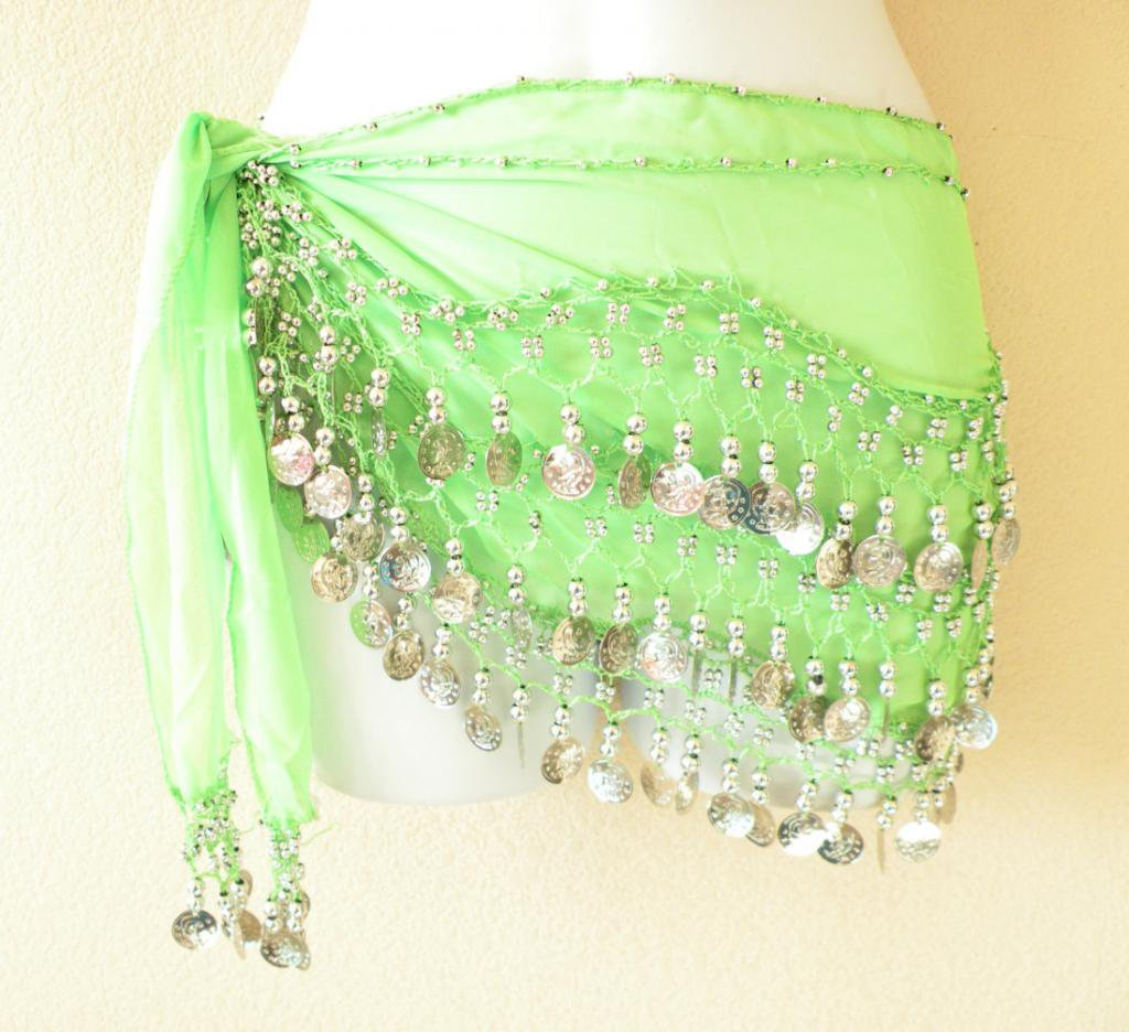 Clubbing Bohemian Embroidered Bellydance Hip Scarf Coins Wrap Skirt - XS & S