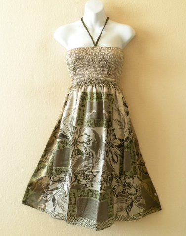 TS26 Vintage Silk Halter Tube Smocked Broomstick Dress / Skirt - XS to XL