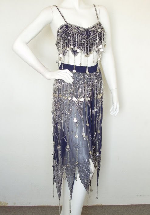 Clubbing Belly dance Heavily Embroidered Sexy Beaded Top & Wrap Skirt Set -M & L