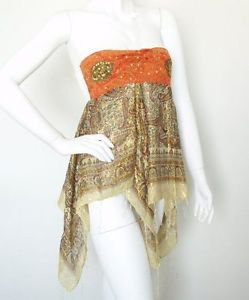 L38 Beige Hippie Gypsy Embroidered Lurex Shimmering Blouse Top / Skirt - S & M