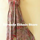 2D72 - Red & Pink Paisley Silk Multi Wear Scarf Long Maxi Dress Skirt, Maternity