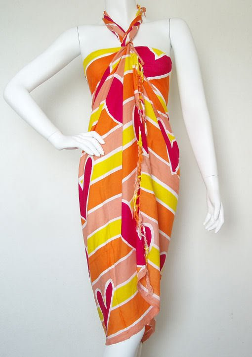 Hearts Batik Multicolor Beachwear Wrap Around Sarong Pareo Dress Coverup Skirt