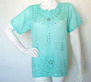 Boho Hippie Gypsy Tunic Bohemian Embroidered Kurta Kurti Blouse Top - M & L