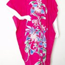 Floral Batik Batwing Kaftan Caftan Abaya Tunic Hippie Gypsy Maxi Dress - 2X & 3X
