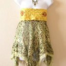 Yellow Boho Hippie Gypsy Embroidered Lurex Shimmering Blouse Top / Skirt - S & M