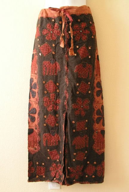 Clearance G129 Gothic Gypsy Patchwork Renaissance Embroidered Long Skirt - L