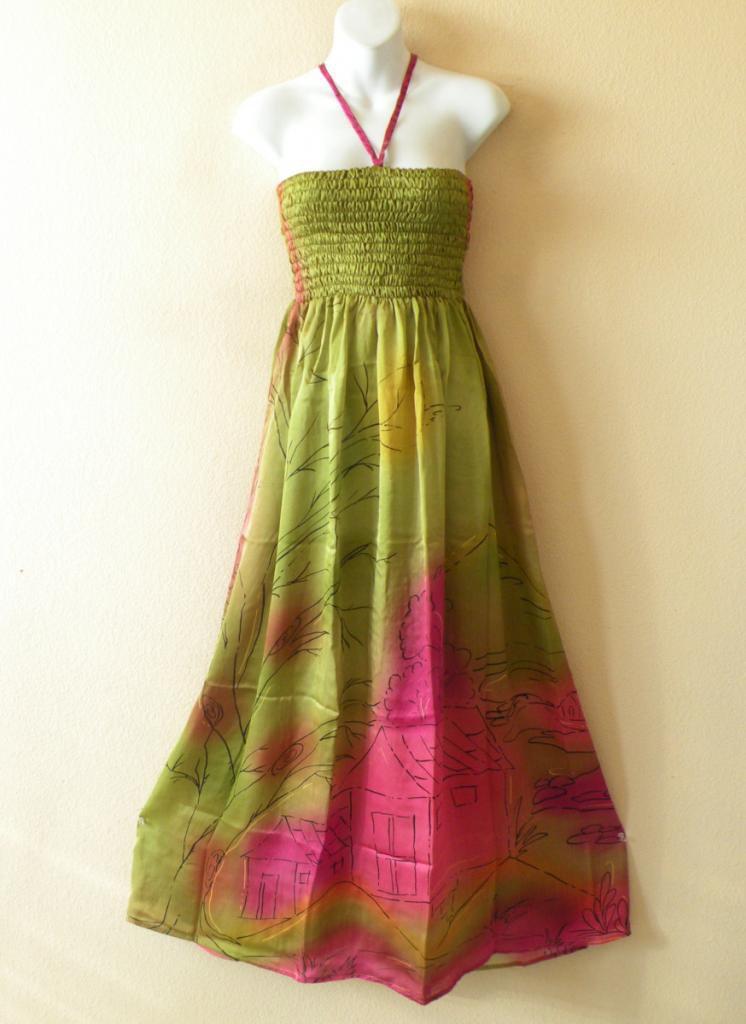 TL72 Bohemian Vintage Silk Halter Tube Smock Maxi Broomstick Dress - XS to XL