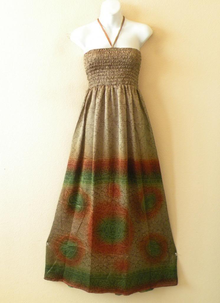 TL50 Bohemian Vintage Silk Halter Tube Smock Maxi Broomstick Dress - XS to XL