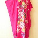 Floral Batik Batwing Kaftan Caftan Abaya Tunic Hippie Gypsy Maxi Dress - 1X & 2X