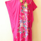 Floral Pink Batik Batwing Kaftan Caftan Abaya Tunic Hippie Maxi Dress - 1X & 2X
