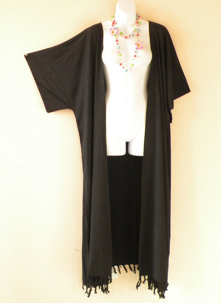 Black Plus Size Cardigan Duster Jacket Kimono Maxi Cover up - 2X, 3X, 4X & 5X