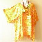 KB424 Blue Summer Kimono Plus Size Batik Caftan Rayon Tunic Blouse - up to 5X