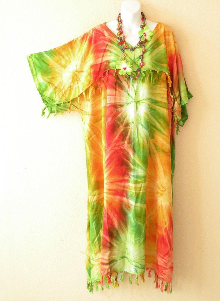 KD13 Tie Dye Kimono Plus Size Kaftan Tunic Hippy Maternity Maxi Dress -up to 5X
