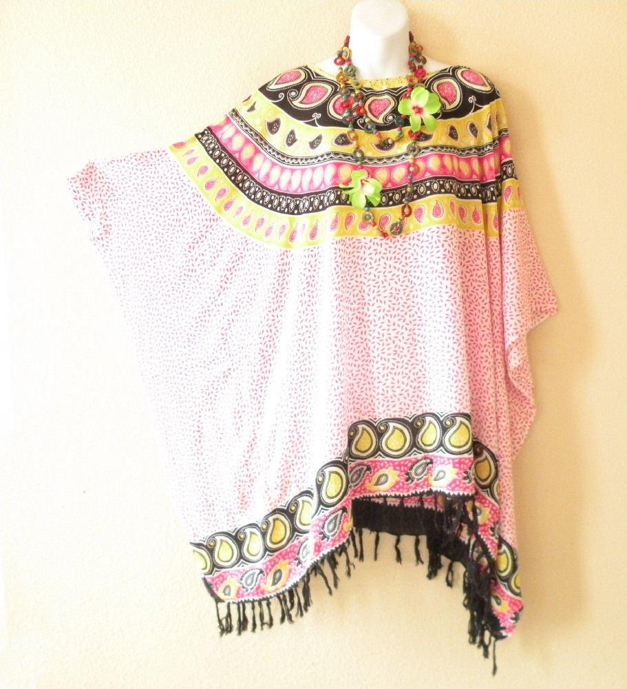 White & Pink Paisley Plus Size Caftan Kaftan Tunic Blouse Top -XL, 1X, 2X & 3X