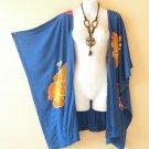 CB12 Blue Plus Size Cardigan Duster Jacket Kimono Cover up - 2X, 3X, 4X & 5X