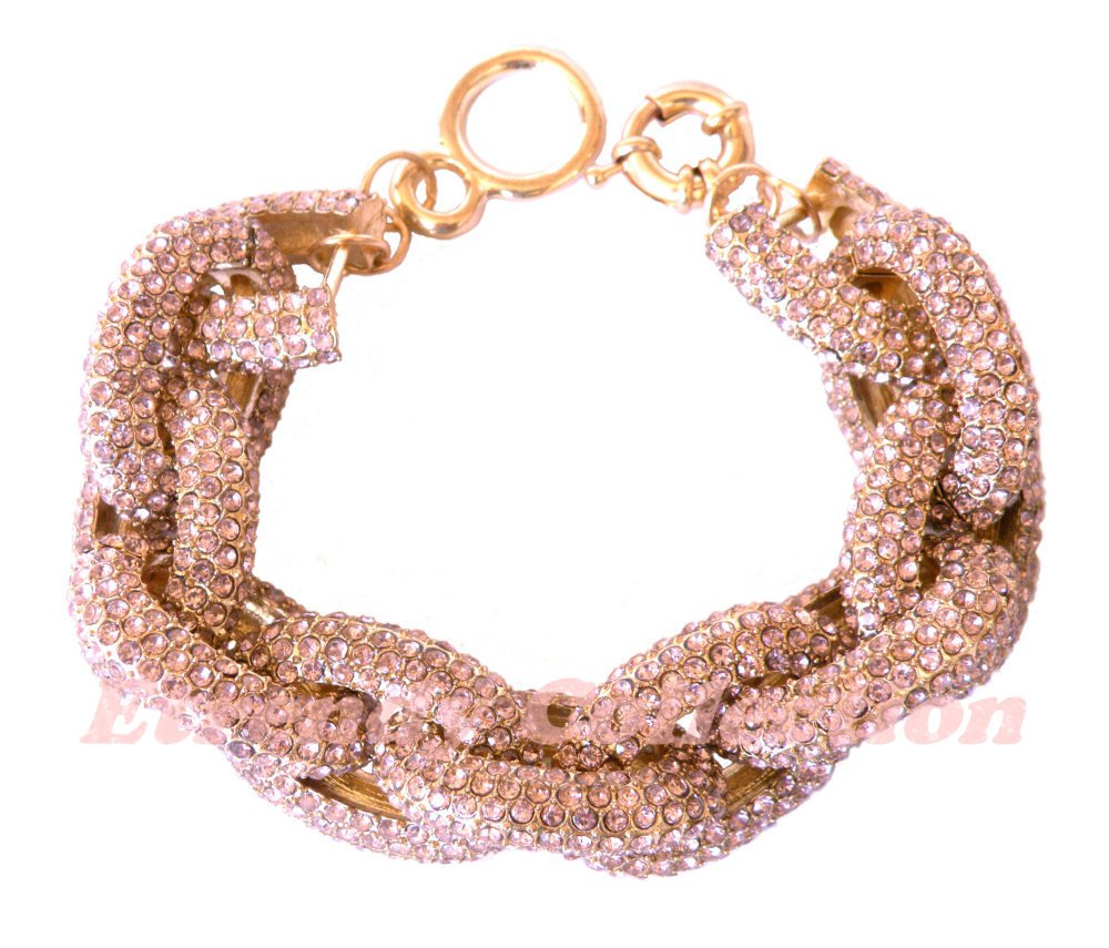 Sale - Chunky Pave Link Chain Light Amethyst Bracelet w/1,500+ Crystals