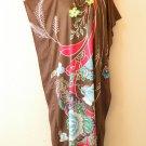 Brown Floral Dolman Caftan Kaftan Tunic Hippy Abaya Maxi Dress - M, L, XL & 1X