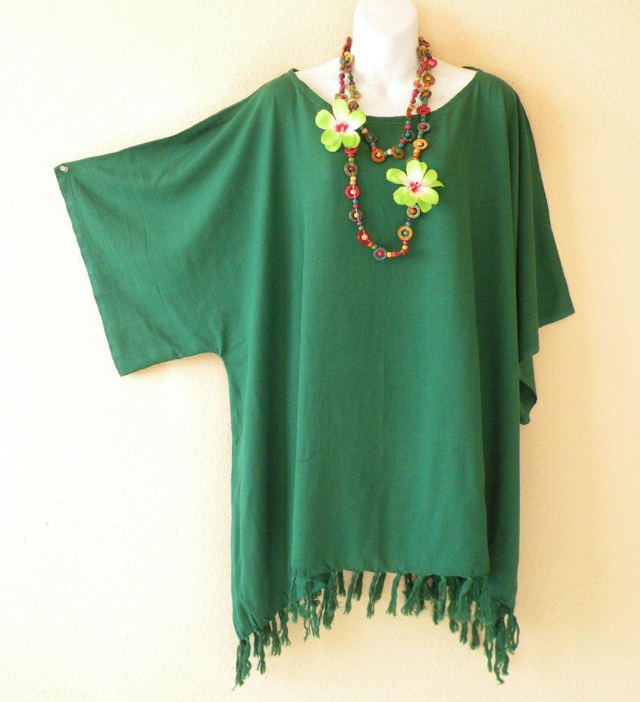 Green Plus Size Caftan Kaftan Tunic Hippy Maternity Blouse Top -2X, 3X, 4X & 5X