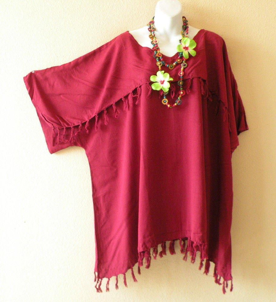 KB43 Cranberry Kimono Plus Size Caftan Poncho Tunic Blouse Top -2X, 3X, 4X & 5X