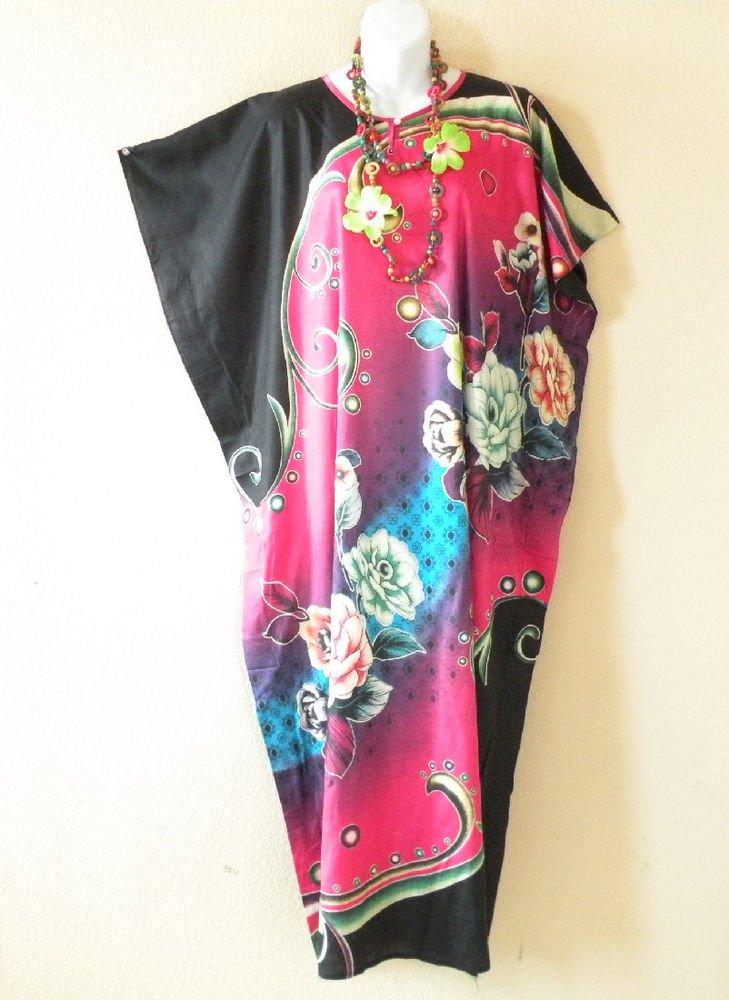 KD75 Pink Plus Size Caftan Dolman Tunic Hippy Maxi Maxi Dress - XL, XL, 1X & 2X