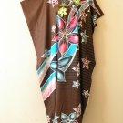 Brown Floral Dolman Batik Caftan Kaftan Tunic Hippy Abaya Dress - M, L, XL & 1X