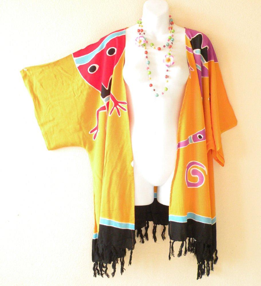 Orange Gecko Plus Size Cardigan Duster Jacket Kimono Cover up - 2X, 3X, 4X & 5X