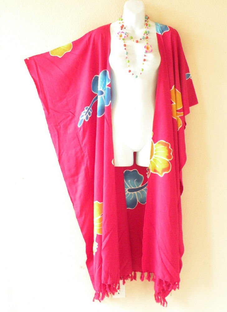 CD25 Floral Pink Plus Size Long Cardigan Kaftan Duster Jacket - 2X, 3X, 4X & 5X