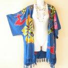CB217 Blue Plus Size Cardigan Duster Jacket Kimono Cover up - 2X, 3X, 4X & 5X