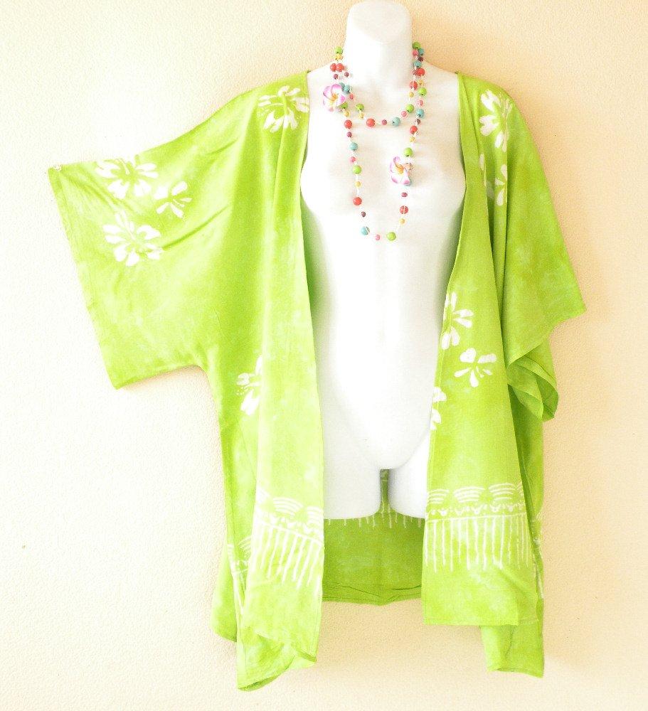 Green Kimono Hibicus Plus Size Caftan Kaftan Tunic Blouse Top - 2X, 3X, 4X & 5X