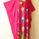 Pink Summer Batik Kaftan Abaya Batwing Maternity Poncho Maxi Dress - 2X to 5X