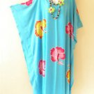 Aqua Hibiscus Batik Kaftan Caftan Batwing Maternity Dolman Maxi Dress 2X to 5X