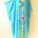 Aqua Summer Batik Kaftan Abaya Batwing Maternity Poncho Maxi Dress - 2X to 5X