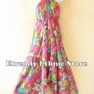 2D113 - Pink Versatile Silk Multi Scarf Women Maxi Long Dress, Skirt Maternity