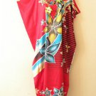 K109 Red Batik Women Kaftan Caftan Hippy Tunic Abaya Boho Gown Maxi Dress XS - M