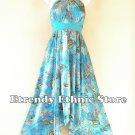 1D111 Aqua Versatile Floral Silk Multi Scarf Women Maxi Halter Dress Maternity