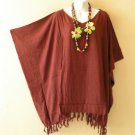Brown Solid Plus Size Kaftan Tunic Gypsy Boho Hippy Women Blouse Top - 2X to 5X