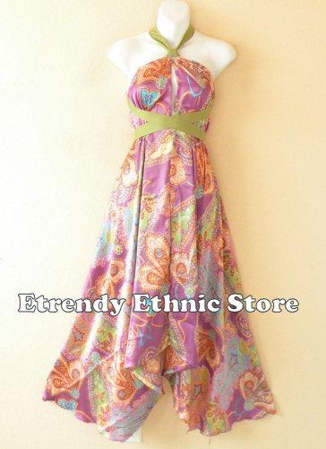 1D114Violet Versatile Paisley Silk Multi Scarf Women Maxi Halter Dress Maternity