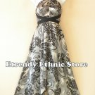 1D117 - Versatile Gray Swirl Silk Multi Scarf Women Maxi Halter Dress Maternity