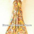 2D110 - Gold Versatile Silk Multi Wear Scarf Women Maxi Dress, Skirt, Maternity