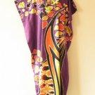 KD91 Purple Abstract Women Kaftan Caftan Batwing Tunic Dolman Maxi Dress M to XL