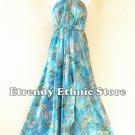 2D107 - Aqua Boho Summer Beachwear Silk Multi Wear Scarf Women Maxi Dress Skirt